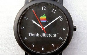 "Apple watch with ""think different"" tagline"