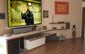 Home automation in living room with television
