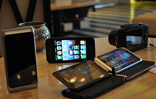 Phones on a table