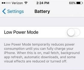 Low Power Mode_iOS 9